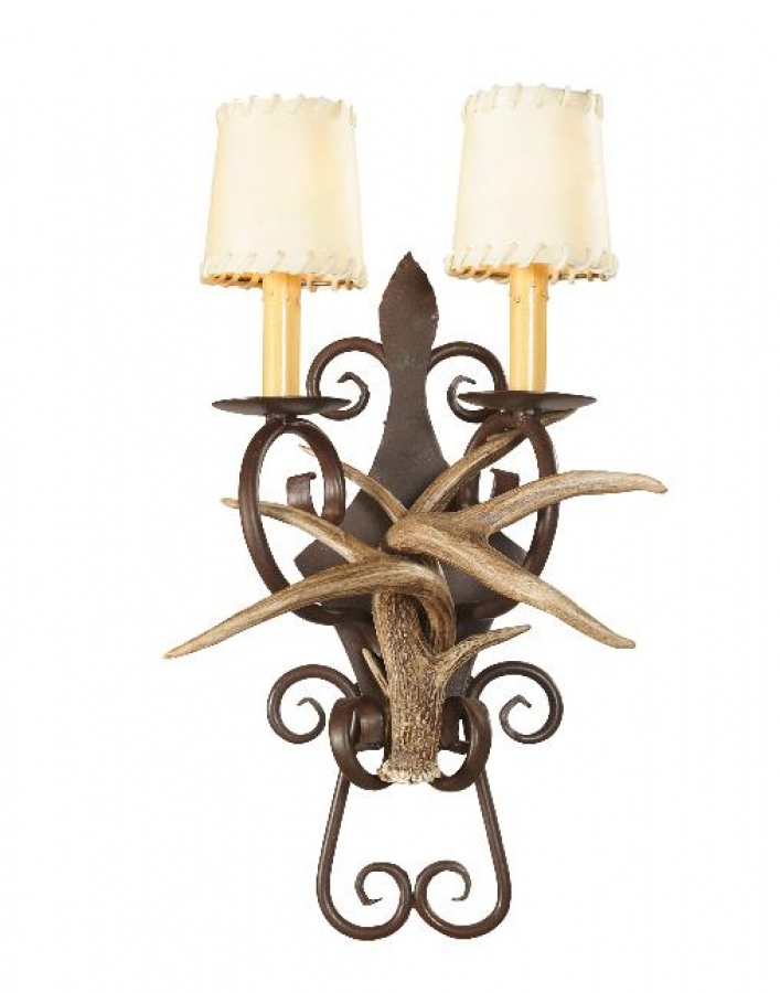 2 Light Coues Deer Antler Wall Sconce With Wrought Iron Back Plate UVSIS133  sc 1 st  Unique Vanities & 2 Light Coues Deer Antler Wall Sconce With Wrought Iron Back Plate ...