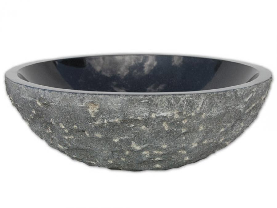 Rough Black Granite : Black granite vessel sink rough exterior polished