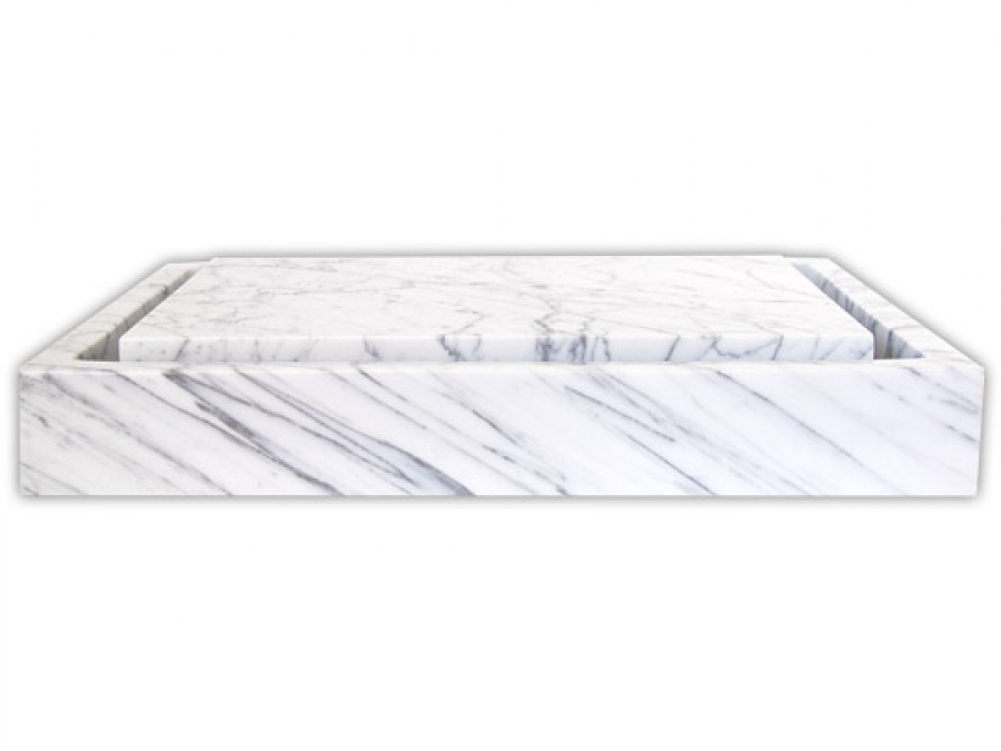 Carrara White Marble Infinity Pool Vessel Sink Uvebs006cwp