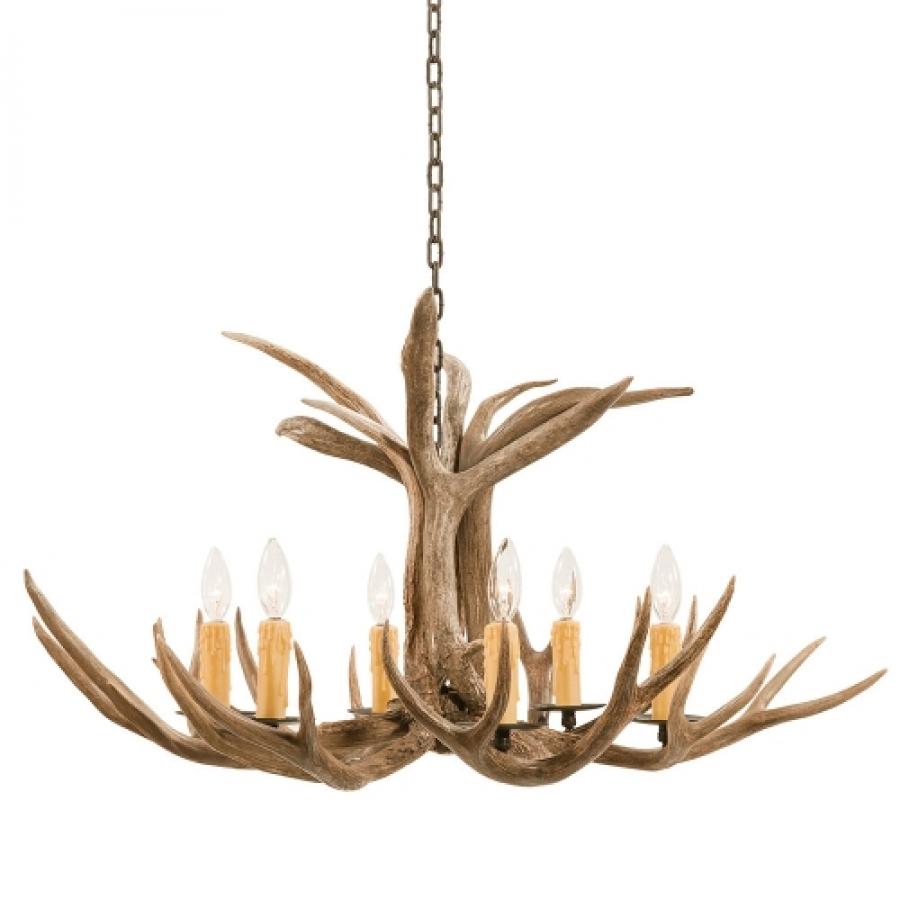 Deer Bathroom Vanity Lights : 6 Light Mule Deer Antler Chandelier UVSIS111
