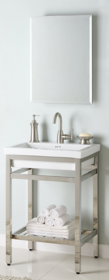 24 Inch Single Sink Console Bathroom Vanity With Choice Of Metal Base Finish And White Ceramic