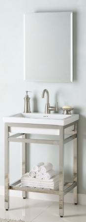 24 inch single sink console bathroom vanity with choice of metal base finish and white ceramic for Single sink consoles bathroom