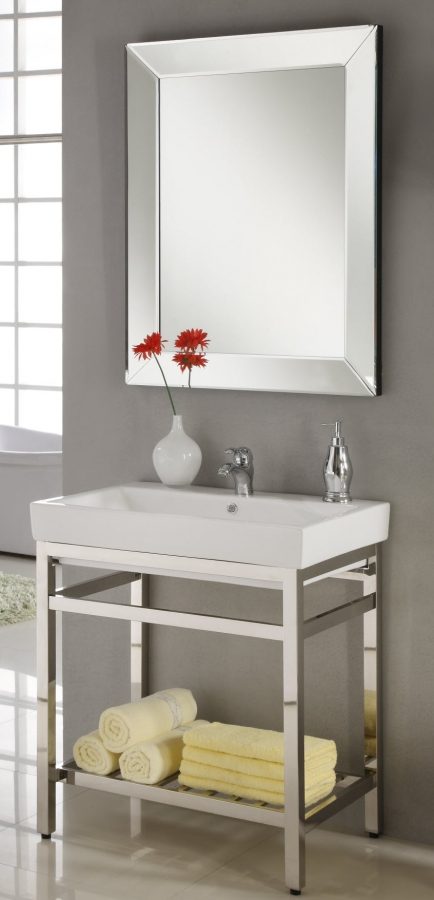 31 inch single sink console bathroom vanity with choice of metal base finish and white ceramic for Single sink consoles bathroom