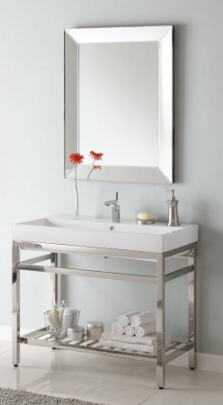 40 Inch Single Sink Console Bathroom Vanity With Choice Of Metal Base Finish And White Ceramic
