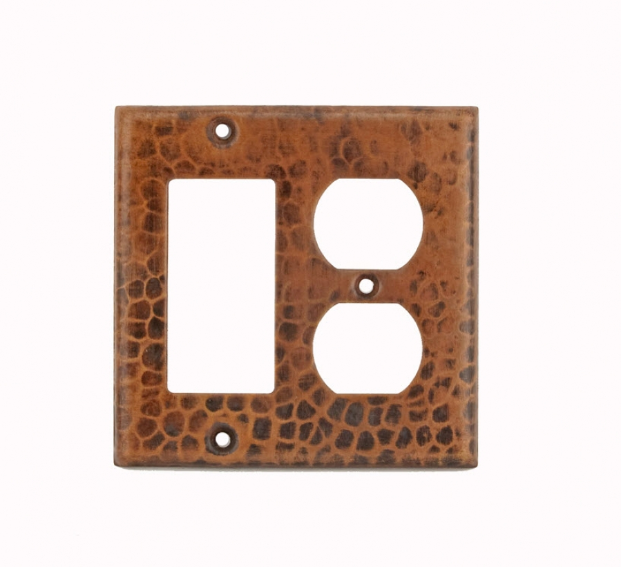 Bathroom Vanity Light With Gfci Outlet: Copper 2 Hole Outlet And Ground Fault Rocker GFI Cover
