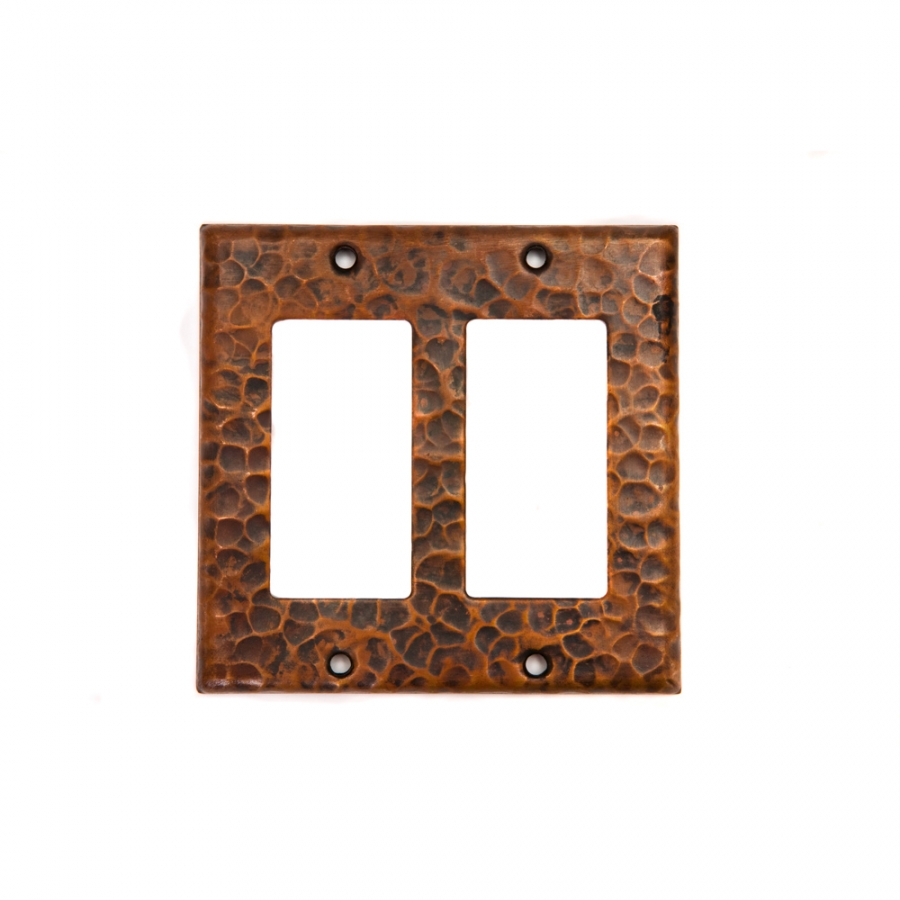 Bathroom Vanity Light With Gfci Outlet: Copper Double Ground Fault Rocker GFI Switchplate Cover