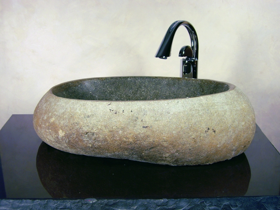 Rock Sink Bowl : Large Boulder Sand Granite Stone Vessel Sink UVYHDTRISTANLS