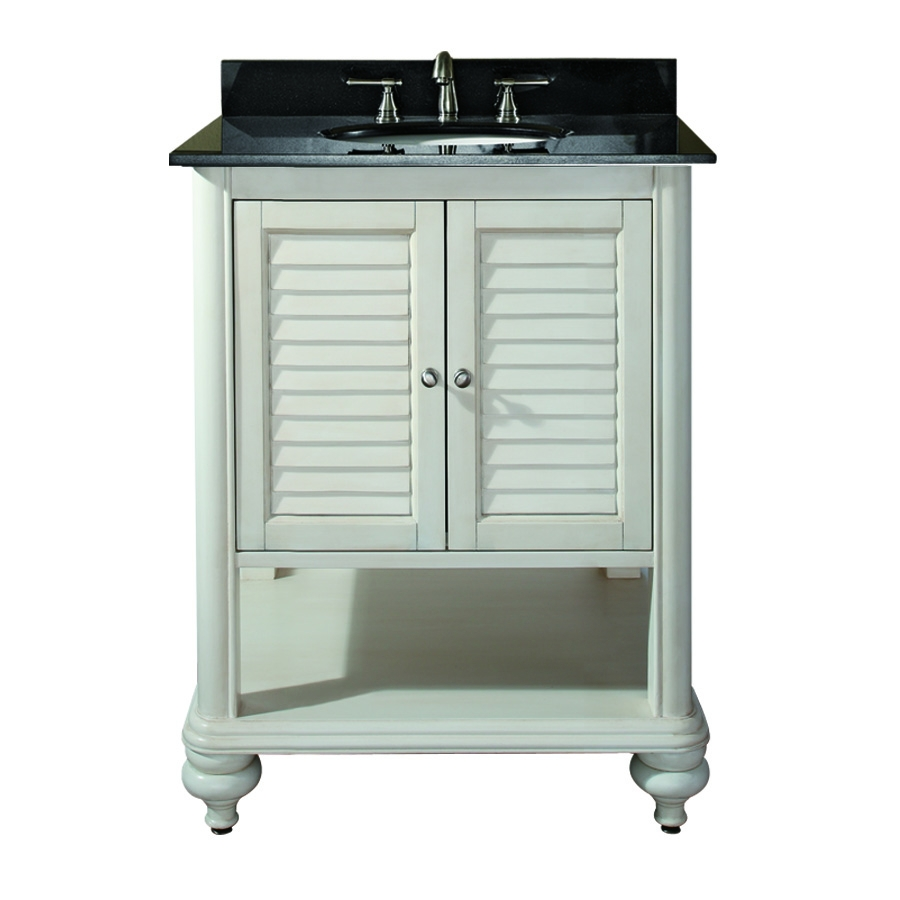 25 inch single sink bathroom vanity with antique white finish and