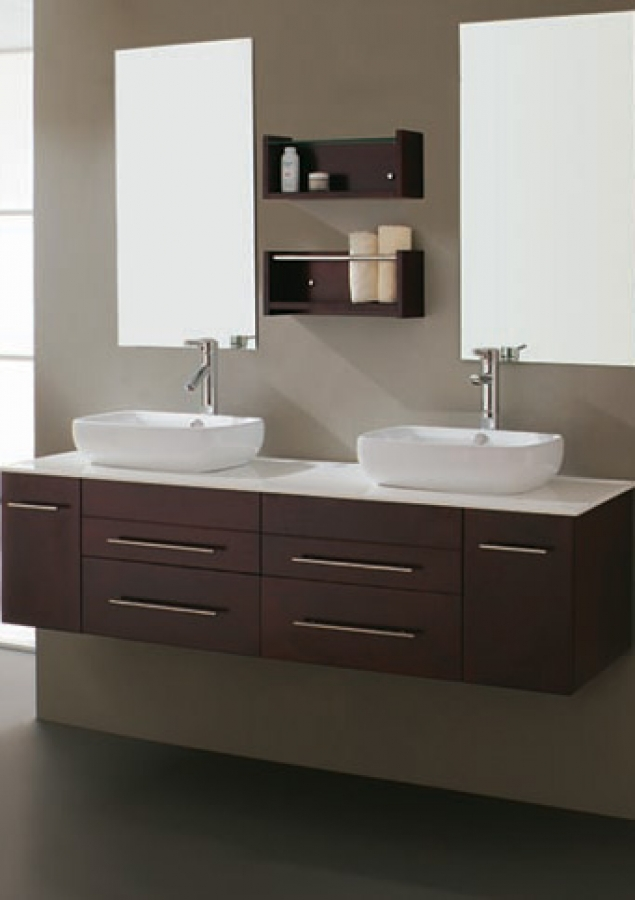 Delightful 60 Inch Modern Double Sink Bathroom Vanity With Vessel Sinks In Espresso