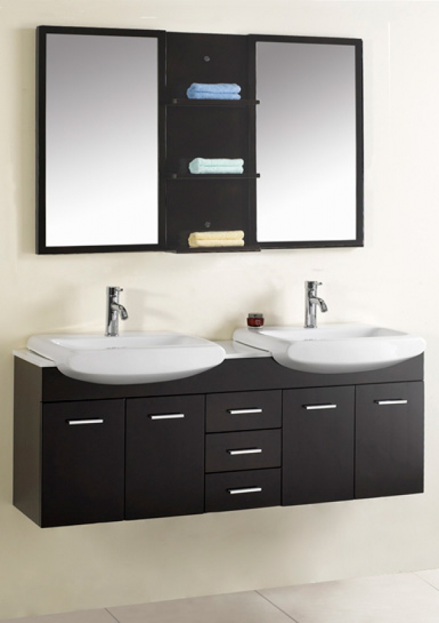 Dark Bathroom Vanity Double Sinks