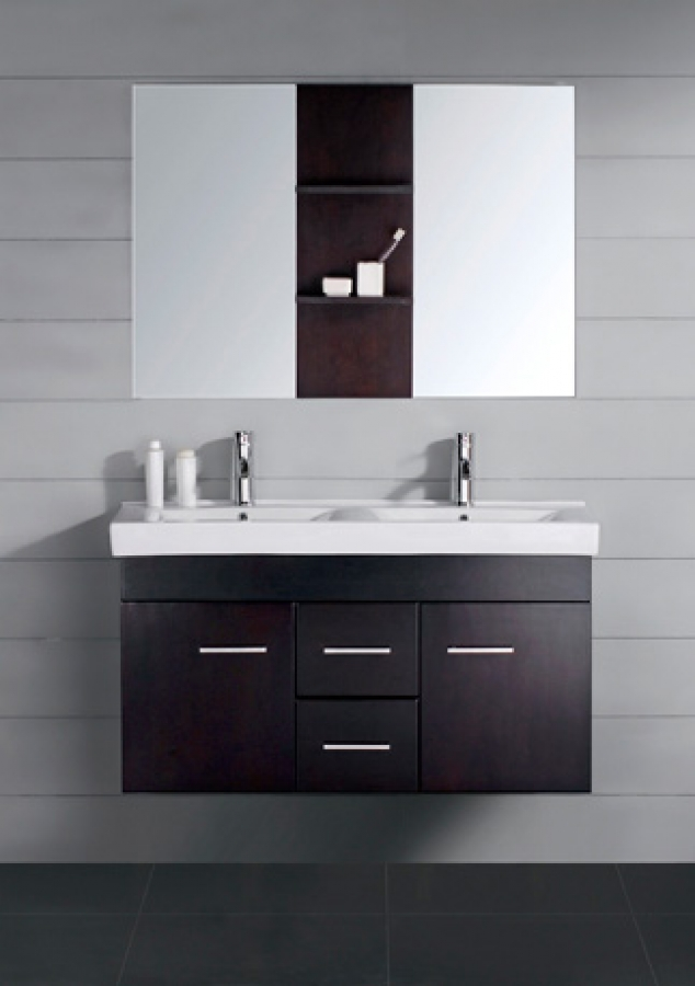 47 Inch Modern Double Sink Bathroom Vanity Espresso with Mirror ...