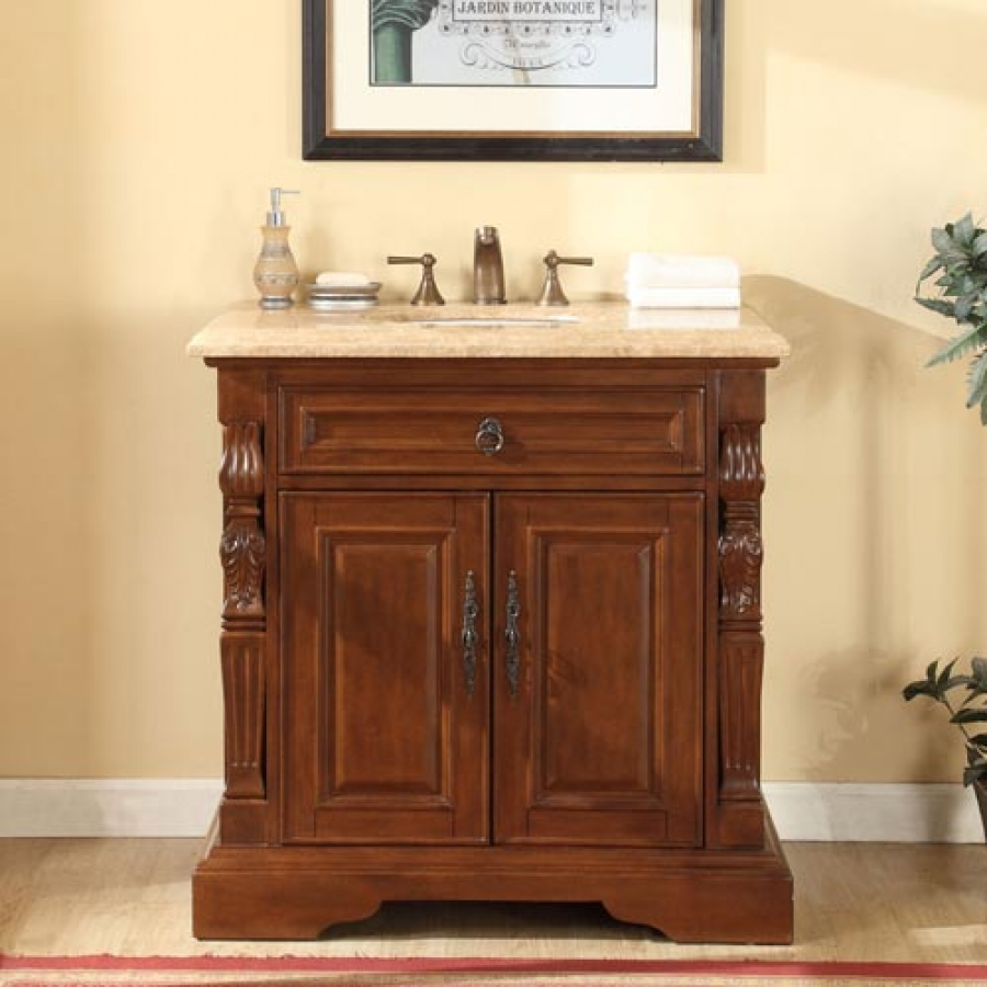 36 Inch Traditional Single Bathroom Vanity with a ...
