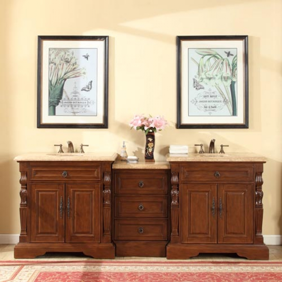 90 inch traditional double bathroom vanity with a for Bathroom cabinets 90