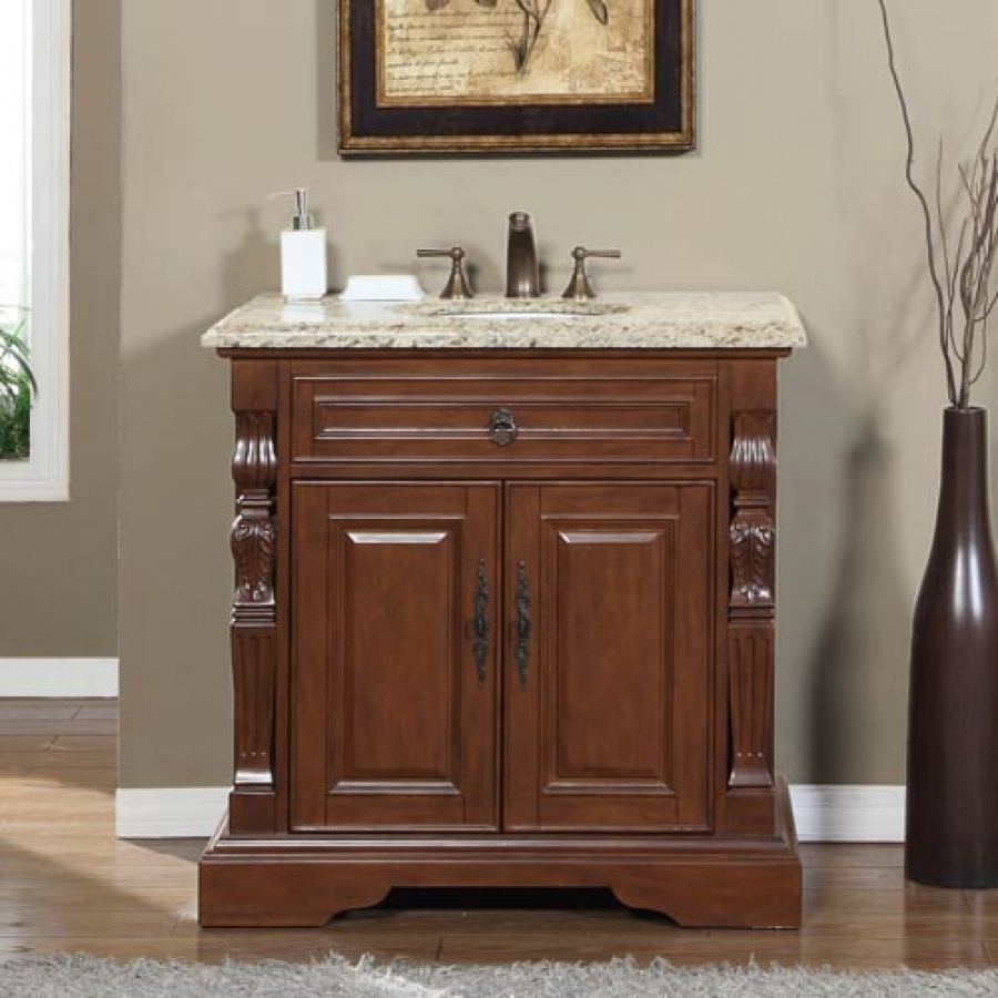36 Inch Traditional Single Bathroom Vanity with Venetian ...