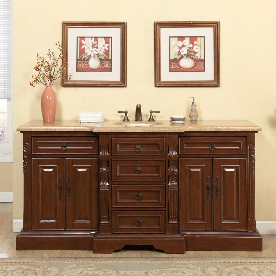 72 Inch Traditional Single Bathroom Vanity With A Travertine Counter Top Uvsrv0280tw72c