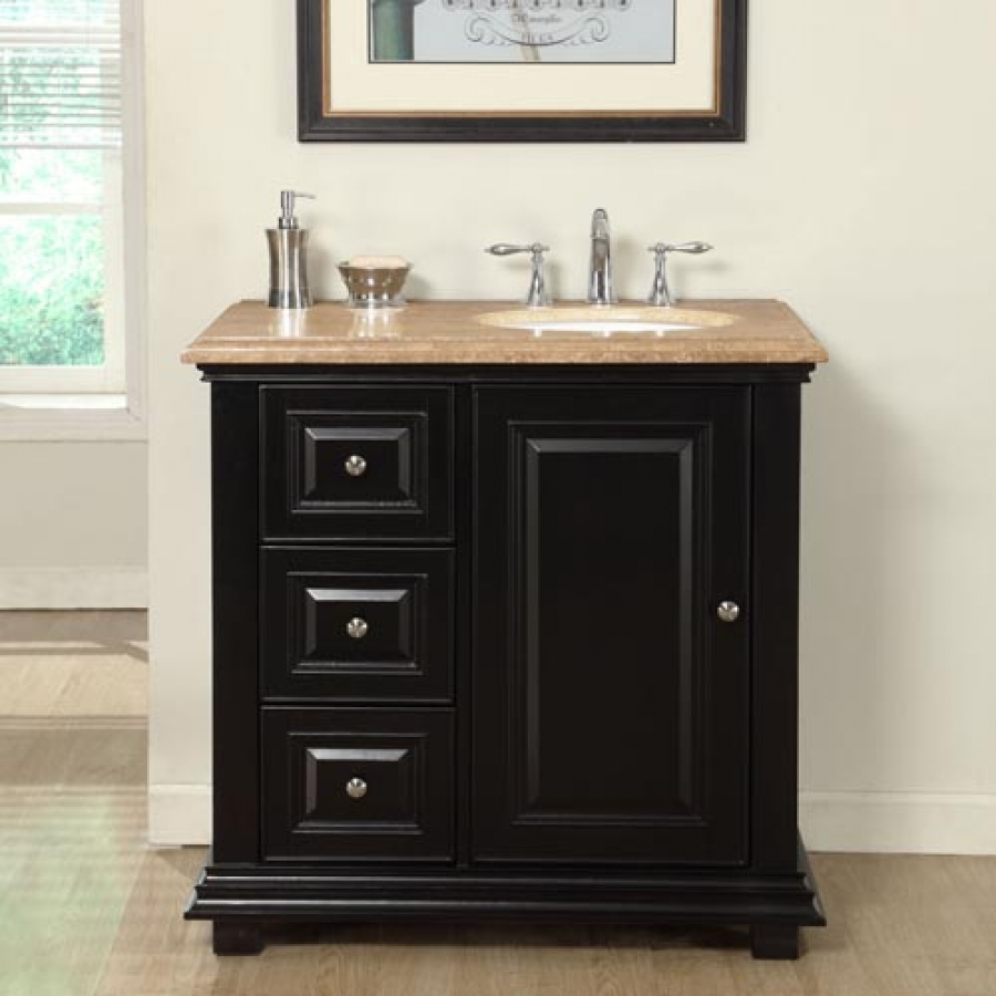 36 Inch Transitional Single Bathroom Vanity With A