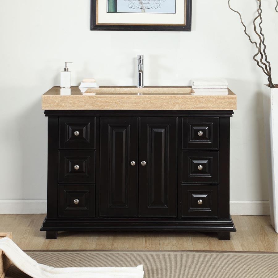 48 inch modern single bathroom vanity with a travertine for Bathroom 48 inch vanity