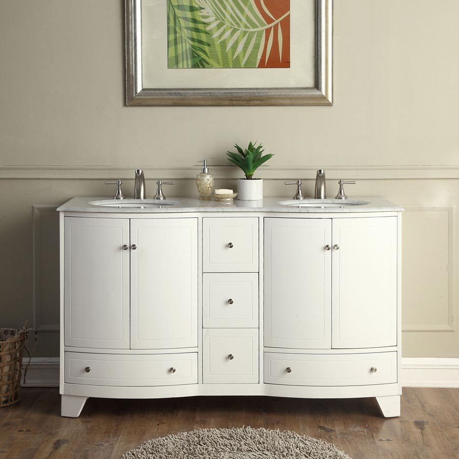 60 Inch Double Sink Bathroom Vanity in White