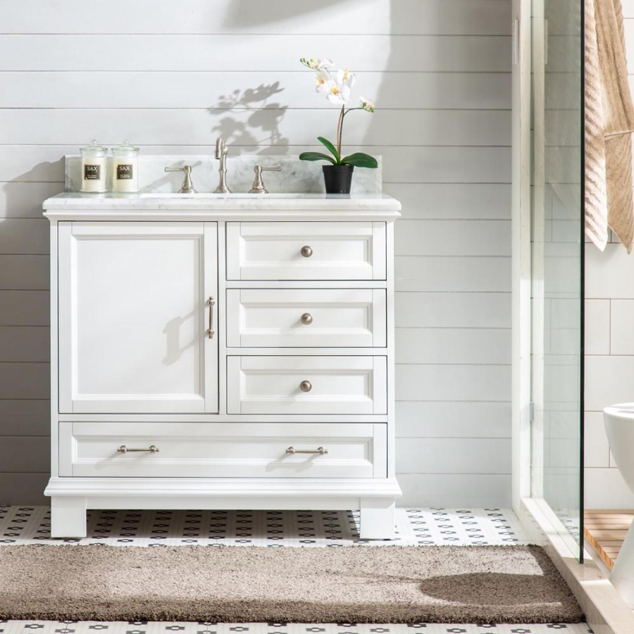 36 Inch Single Sink Bathroom Vanity in White with Soft Close Drawers