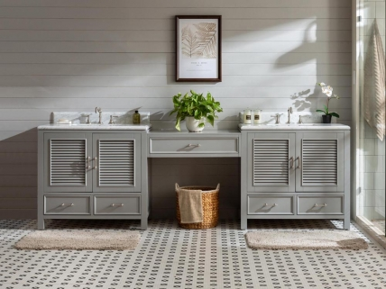 103 Inch Double Sink Bathroom Vanity with Makeup Table
