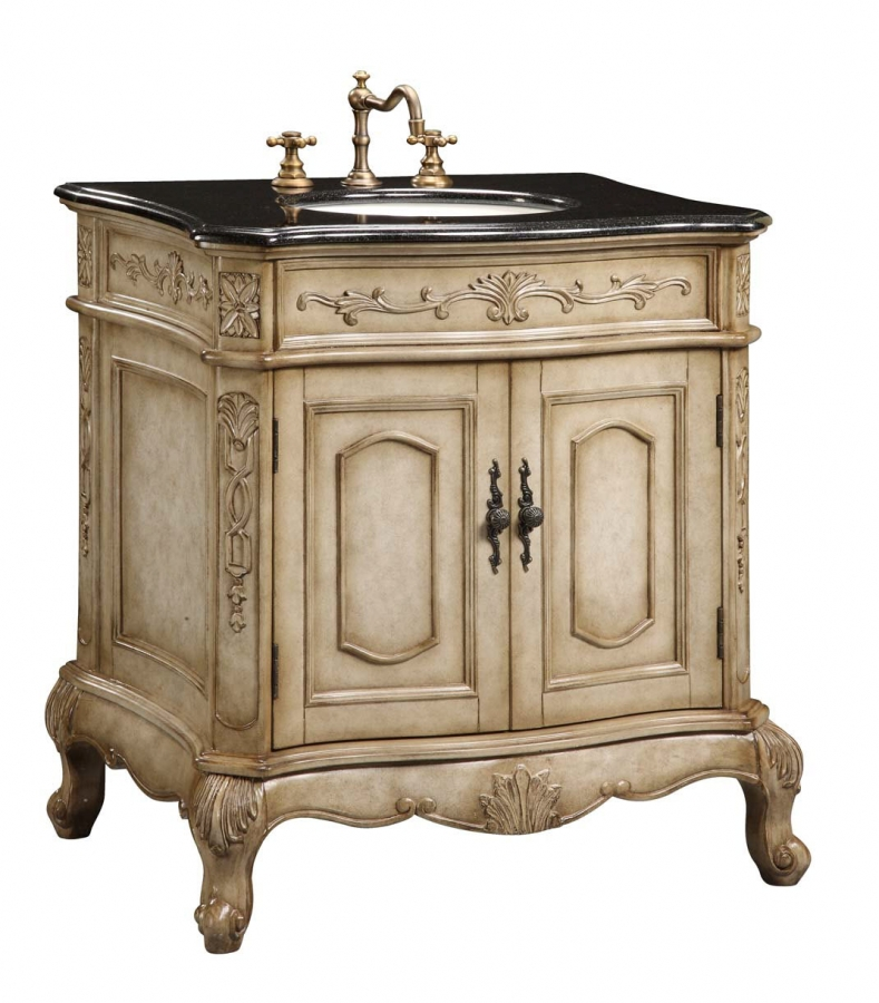 30 Inch Single Sink Furniture Style Bathroom Vanity With Cream Marble Uveive30