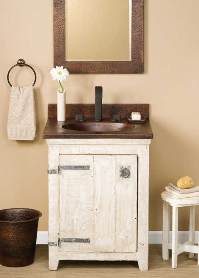 home 24 inch single sink bath vanity in whitewash with a copper top