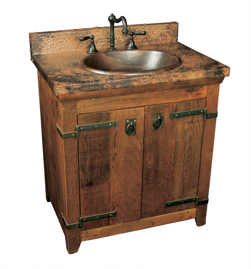 30 inch single sink bath vanity with copper top uvntvnb30130 for Bathroom cabinets 30 inch