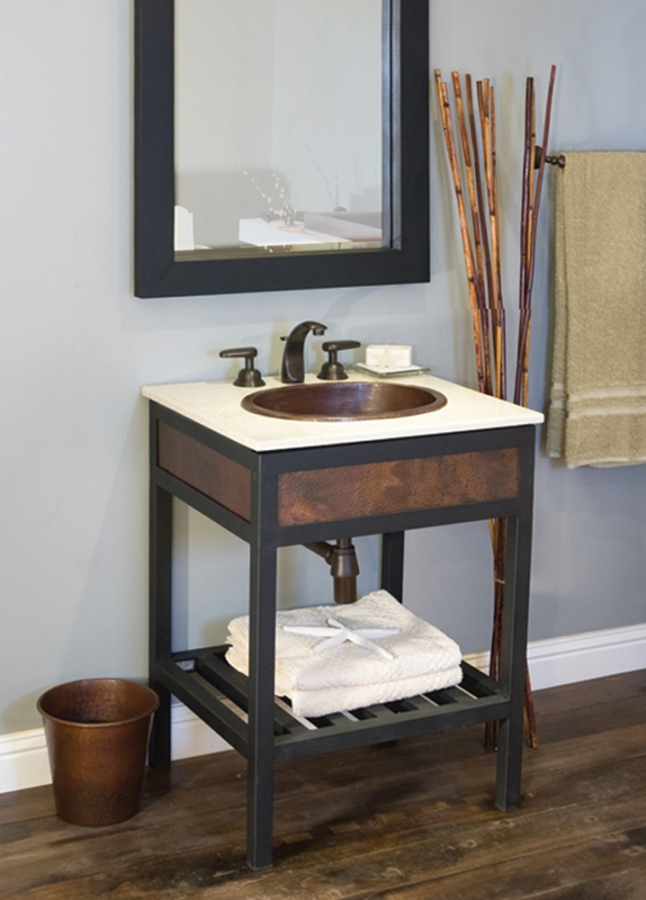24 Inch Single Sink Bath Vanity With Crema Marble Top UVNTVNR24224