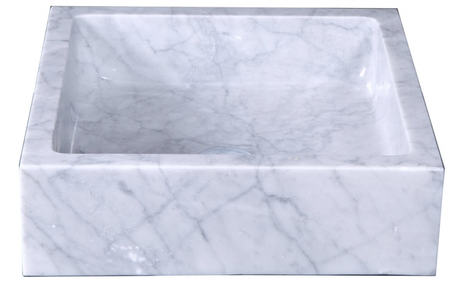 Square Marble Sink : Bianco Carrara Marble Square Vessel Sink UVVUVST2011BAS