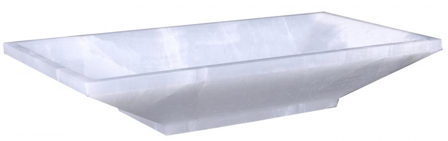 Home U003e White Onyx Marble Rectangular Vessel Sink · Loading Zoom