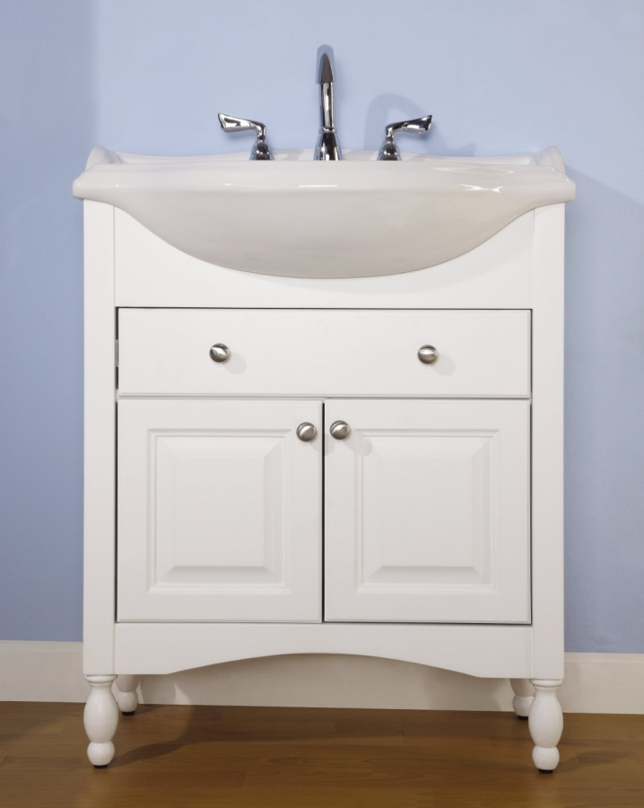 30 inch single sink narrow depth furniture bathroom vanity for Long bathroom vanity