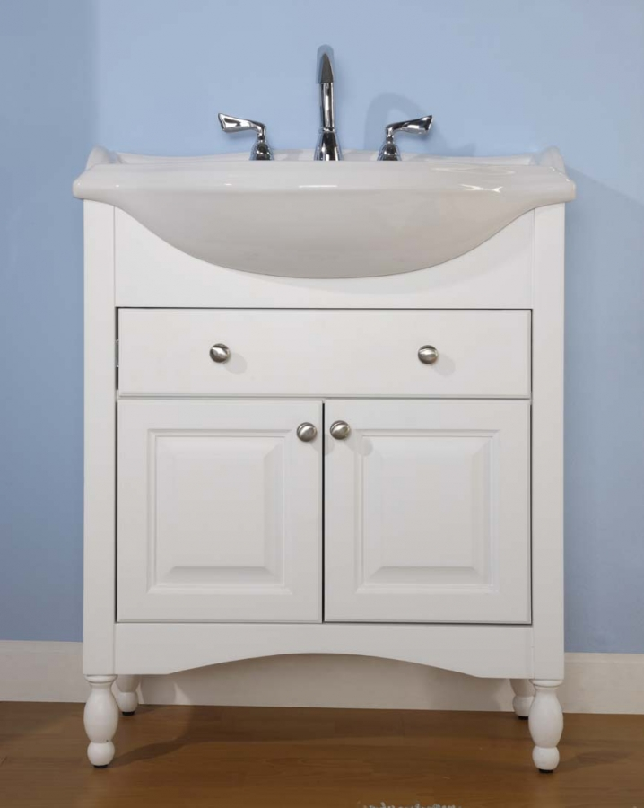 34 Inch Single Sink Narrow Depth Furniture Bathroom Vanity With Choice Of  Finish And Sink
