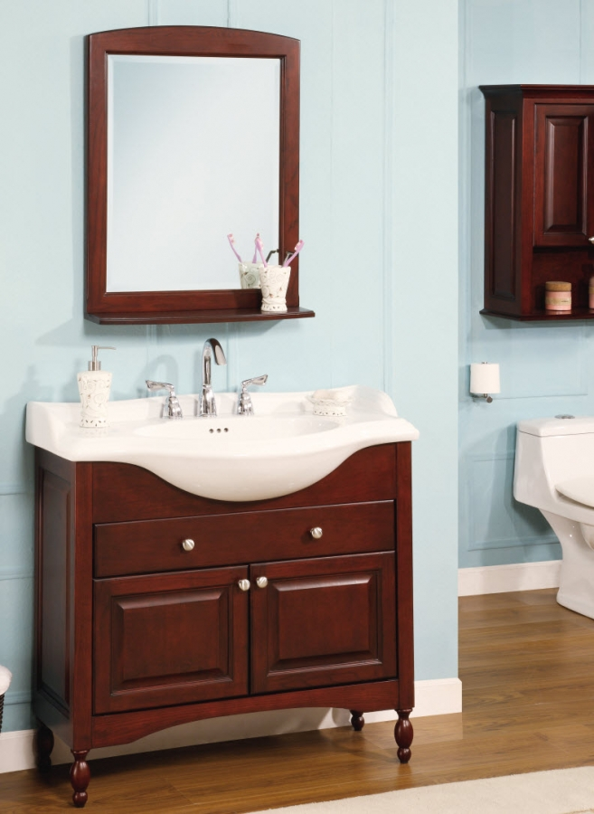 38 Inch Single Sink Narrow Depth Furniture Bathroom Vanity With Choice Of Finish And Uveiw38