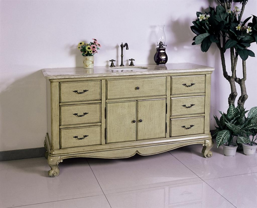 60 Inch Single Sink Bath Vanity With Travertine Top