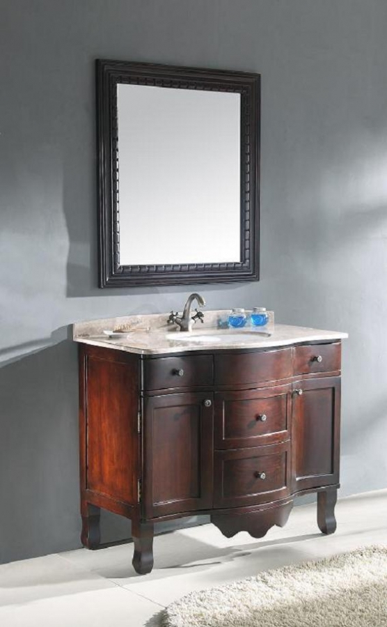 Inch Traditional Single Bathroom Vanity Cherry