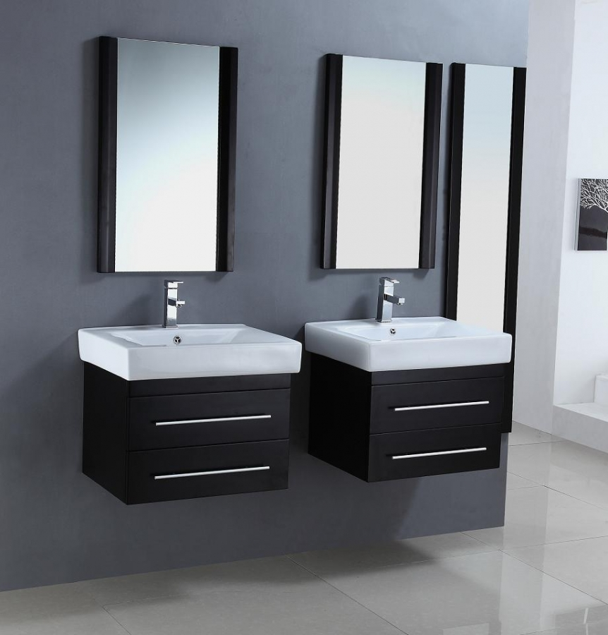 24 Inch Modern Single Sink Bathroom Vanities in a Set of Two in Espresso Fini