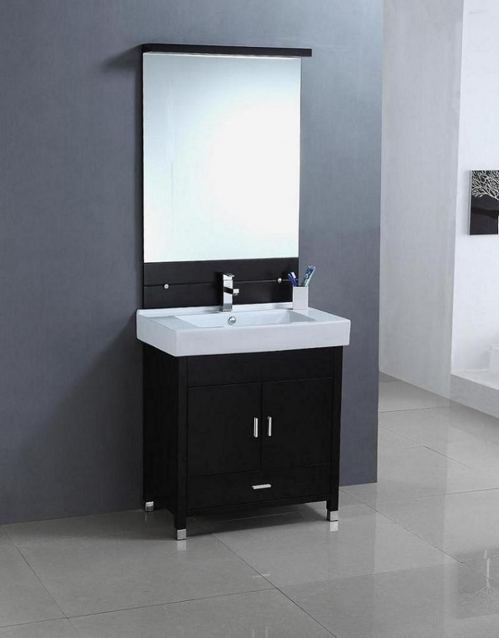 31.5 Inch Modern Single Sink Bathroom Vanity In Espresso
