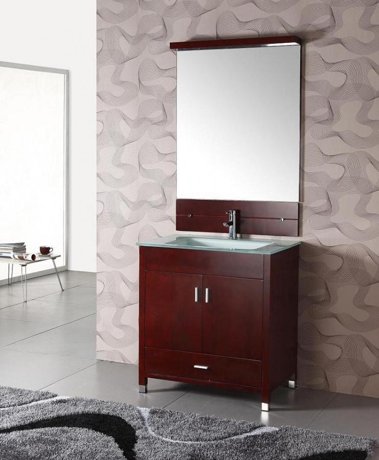 32 Inch Modern Single Sink Bathroom Vanity In Cherry Espresso UVLF311032
