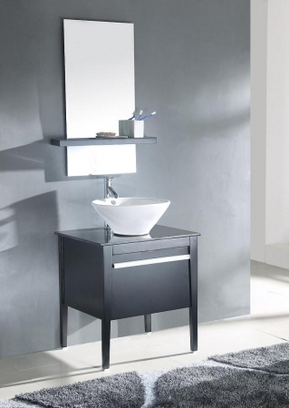 26 Inch Modern Vessel Sink Bathroom Vanity In Espresso Finish Uvlf311426