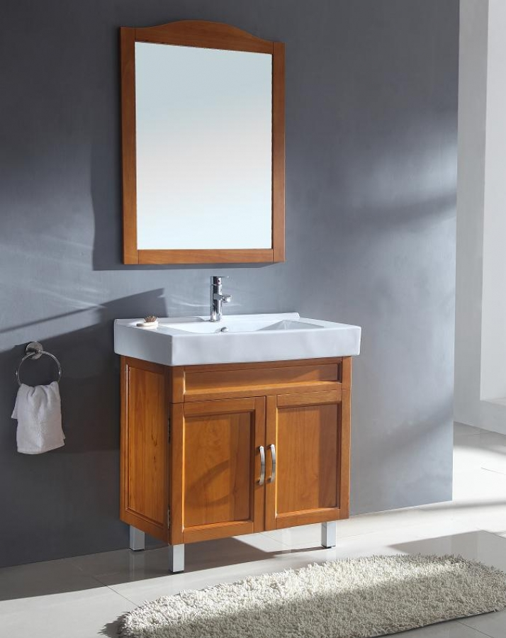 31 5 Inch Modern Single Sink Bathroom Vanity In Honey Oak