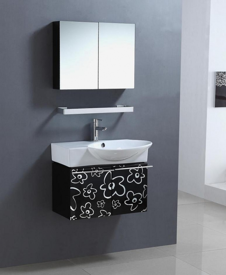 30 inch wall mount single sink bathroom vanity in black and white