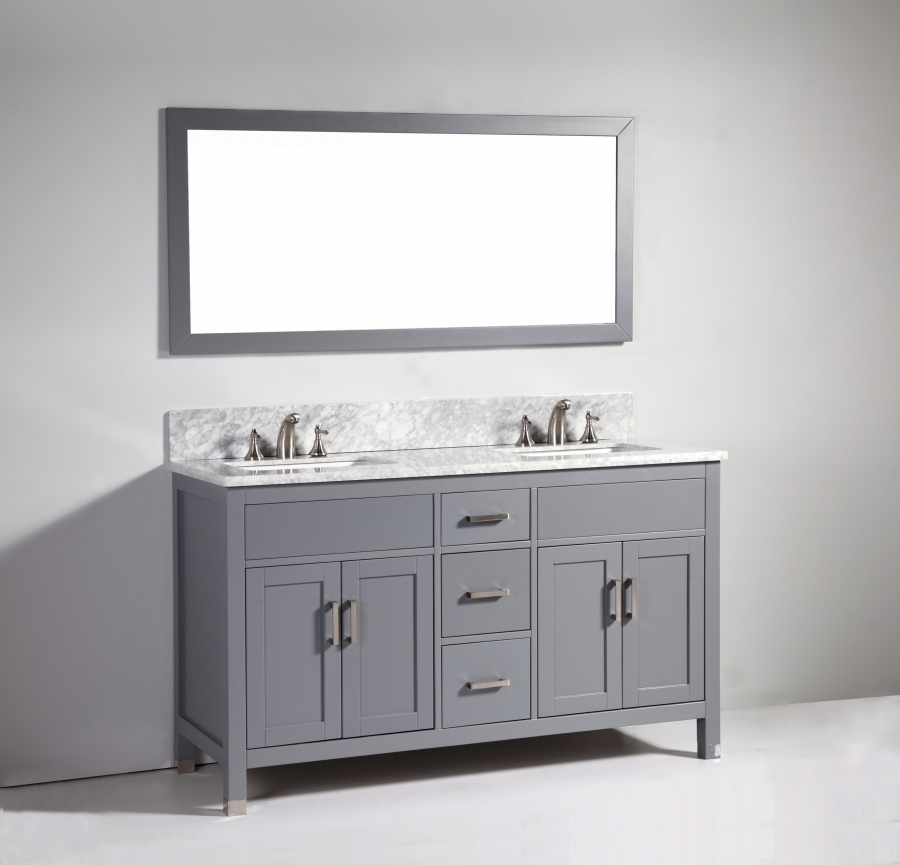 60 Inch Modern Double Sink Vanity In Dark Gray UVLFWA6260DG