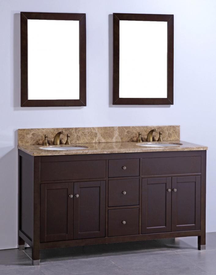 60 Inch Double Sink Bathroom Vanity With Brown Marble Top
