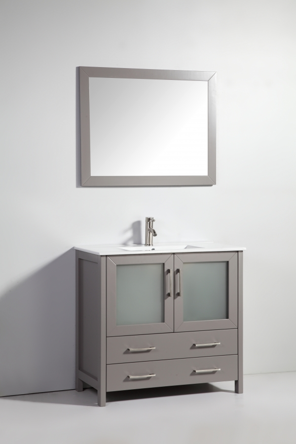 36 Inch Modern Single Sink Vanity In Light Gray