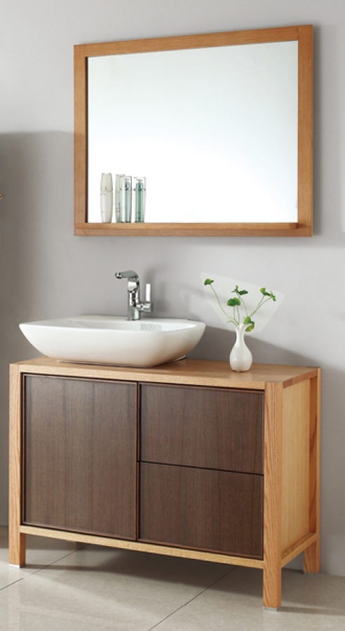 40 Inch Single Sink Bath Vanity In Red Oak And Walnut