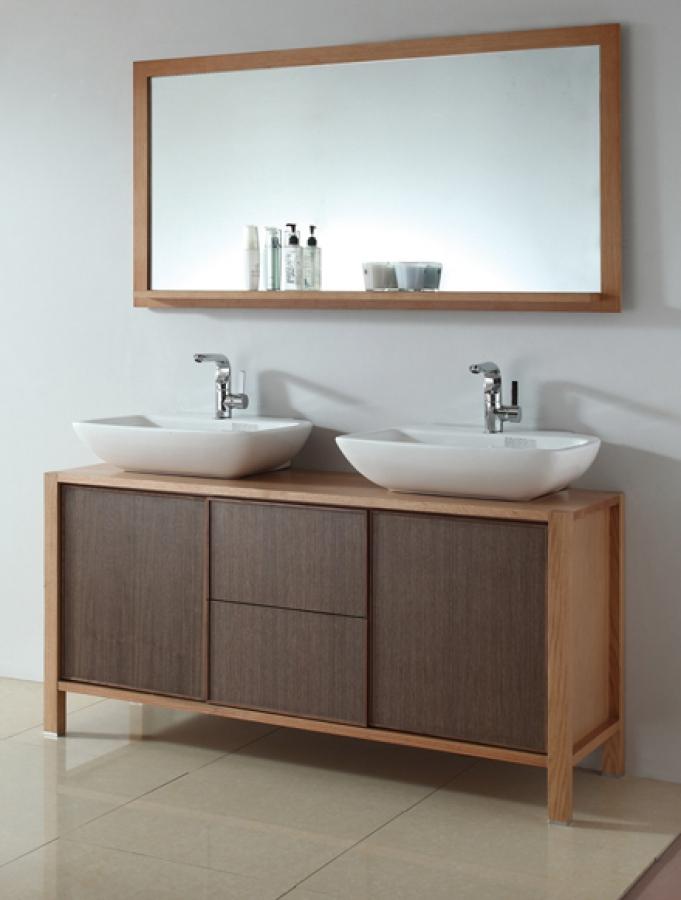59 Inch Double Sink Bath Vanity In Red Oak And Walnut UVLFWB14168C59