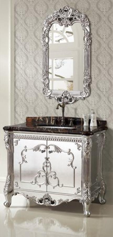 Antique Silver Bath Accessories: 39.5 Inch Single Sink Bath Vanity In Silver Foil UVLFWB1966639