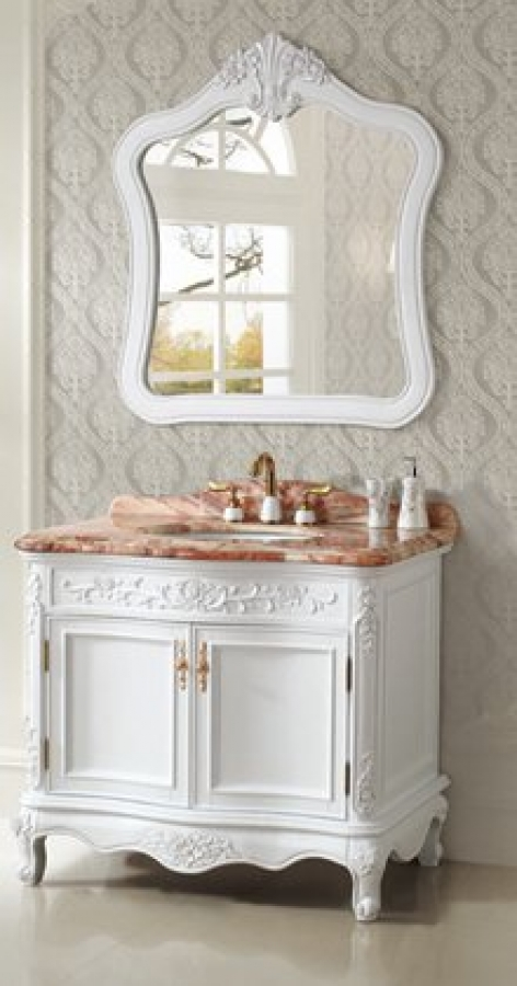 39 5 Inch Single Sink Bath Vanity In White With Two Doors