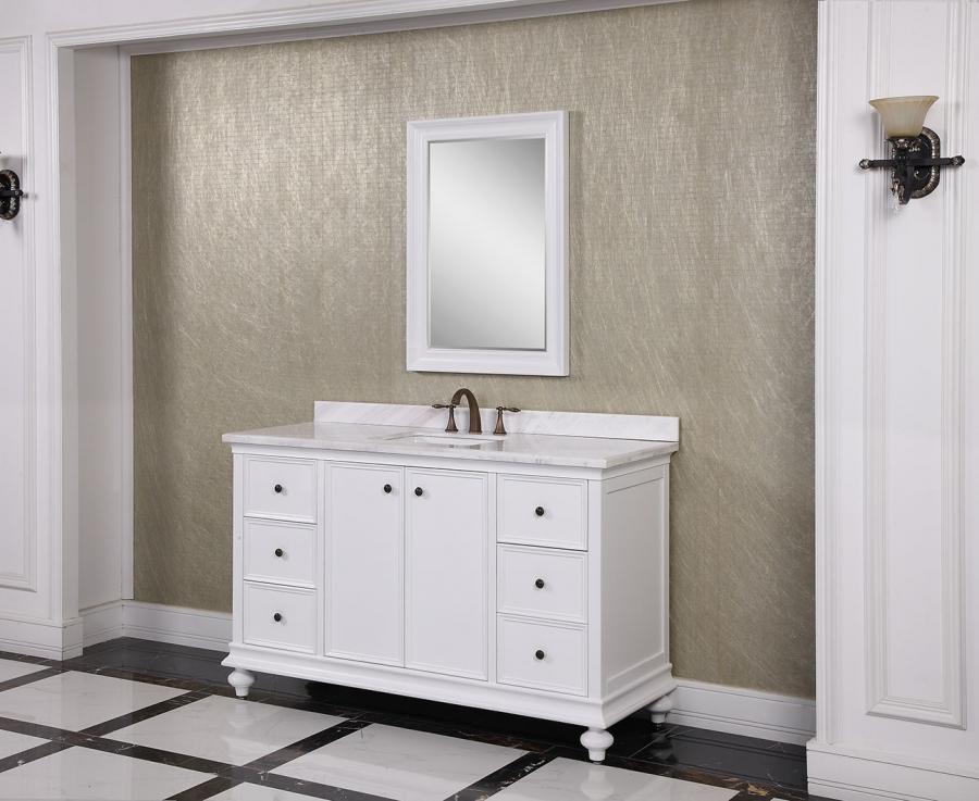 60 Inch Single Sink Bathroom Vanity In White Uvlfwb197166060