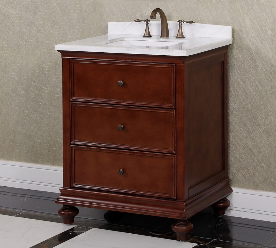 30 inch single sink bathroom vanity in brown uvlfwb19716a30 for Bathroom cabinets 30 inch